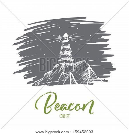 Vector hand drawn beacon concept sketch. Lighthouse on rocks shining during night time. Lettering Beacon concept