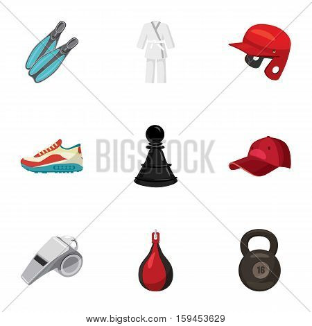 Sporting items icons set. Cartoon illustration of 9 sporting items vector icons for web