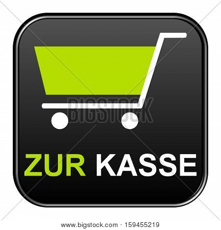 Isolated black Button is showing Checkout in german language