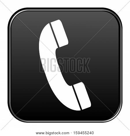 Isolated black Button is showing Hotline symbol