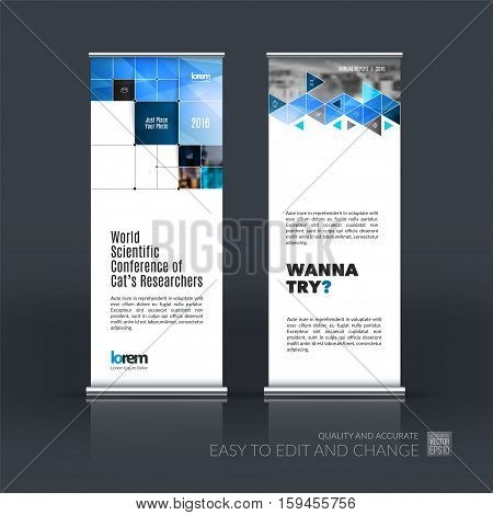 Business vector set of modern roll Up Banner stand design with blue rectangular shapes, triangles, squares, lines, rounds for IT, business, building. Exhibition, fair, show. Abstract creative art.