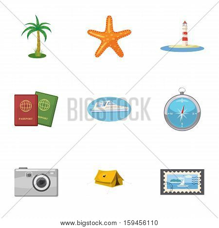 Travel to sea icons set. Cartoon illustration of 9 travel to sea vector icons for web