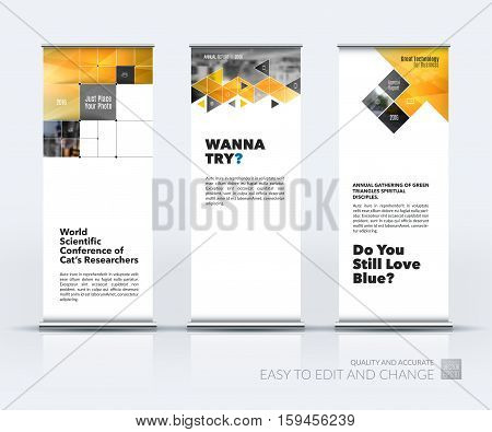 Business vector set of modern roll Up Banner stand design with yellow arrows, triangles, squares, lines, rounds for IT, business, building. Exhibition, fair, show. Abstract creative art.