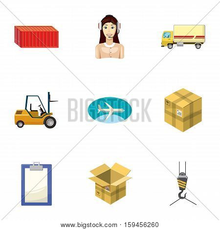 Shipping icons set. Cartoon illustration of 9 shipping vector icons for web