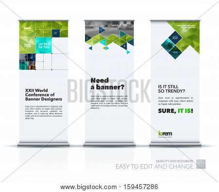 Business vector set of modern roll Up Banner stand design with green arrows, triangles, squares, lines, rounds for IT, business, building. Exhibition, fair, show. Abstract creative art.