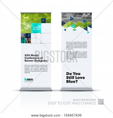 Business vector set of modern roll Up Banner stand design with rectangular shapes, triangles, squares, lines, rounds for IT, business, building. Exhibition, fair, show. Abstract creative art.