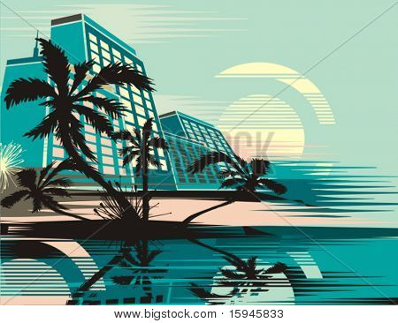 Cityscape at tropical sunrise, vector illustration series.
