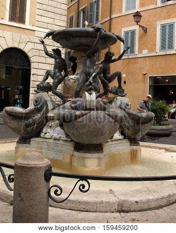 Fontana delle Tartarughe (The Turtle Fountain) in Piazza Mattei . Rome Italy