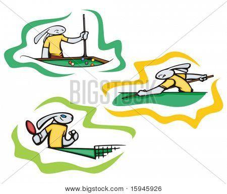 Bunny table tennis and billiard, vector. Great for t-shirt designs, mascot logos and other designs. Vinyl-ready.