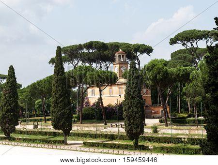 ROME, ITALY - JUNE 14, 2015: Garden of Villa Borghese in Rome Italy