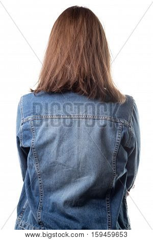 Woman in jeans jacket from back on white background