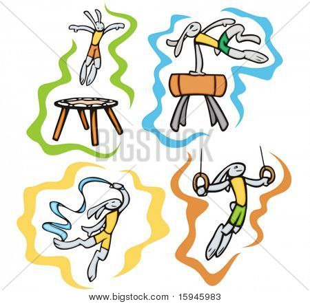 Bunny gymnastics. Great for t-shirt designs, mascot logos and other designs. Vinyl-ready.