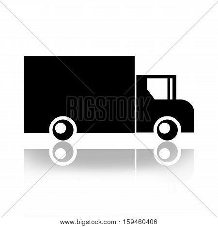 Truck black silhouette isolated on white background