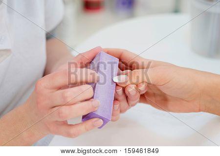 Nail Buffering In Beauty Salon