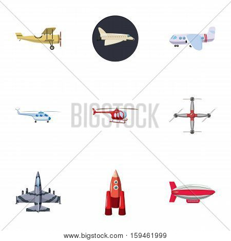 Flying vehicles icons set. Cartoon illustration of 9 flying vehicles vector icons for web