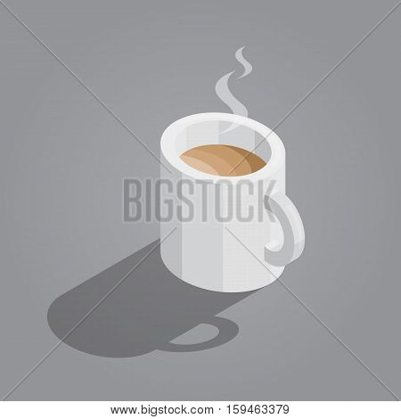 white cup of coffee on gray background isometric