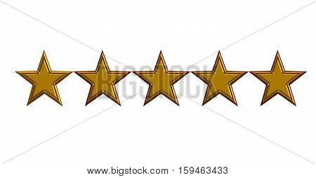 five gold stars on white background. five gold stars 3D illustration.
