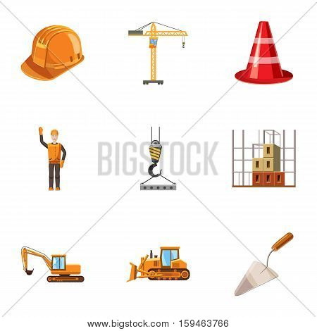 Building tools icons set. Cartoon illustration of 9 building tools vector icons for web