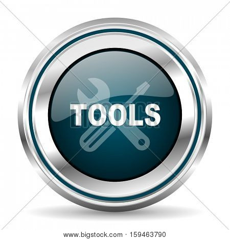Tools vector icon. Chrome border round web button. Silver metallic pushbutton.
