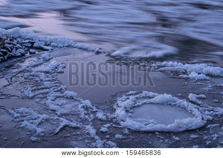 long exposure of floe on the river in winter