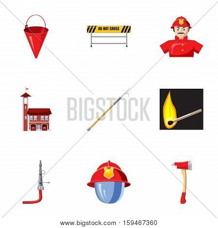 Burning icons set. Cartoon illustration of 9 burning vector icons for web