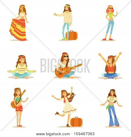 Hippies Dressed In Classic Woodstock Sixties Hippy Subculture Clothes Travelling, Doing Spiritual Practices And Playing Music Set. Happy Cartoon Characters Belonging To 60s Peaceful Subculture Movement Camping In Nature.