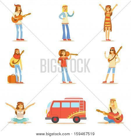Hippies Dressed In Classic Woodstock Sixties Hippy Subculture Clothes Travelling, Doing Spiritual Practices And Playing Music Collection. Happy Cartoon Characters Belonging To 60s Peaceful Subculture Movement Camping In Nature.