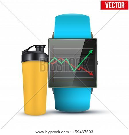 Design example sport wrist Smartwatch with fitness equipment and result on display. Vector Illustration on white background.