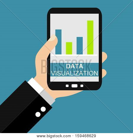 Hand holding Smartphone: Data Visualization - Flat Design