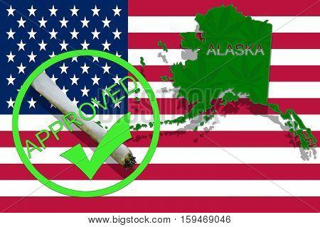 Alaska On Cannabis Background. Drug Policy. Legalization Of Marijuana On Usa Flag,