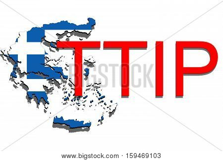 Ttip - Transatlantic Trade And Investment Partnership On Greece Map