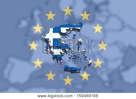 Close Up On Greece Map On Euro Union And Europe Background