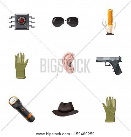 Secret agent icons set. Cartoon illustration of 9 secret agent vector icons for web