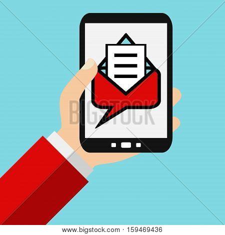 Hand holding Smartphone: Message - Flat Design