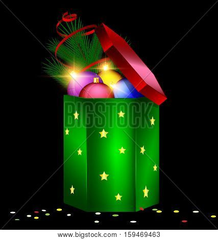 black background and the large red green gift box with decorative colored balls green branch of tree spiral tape