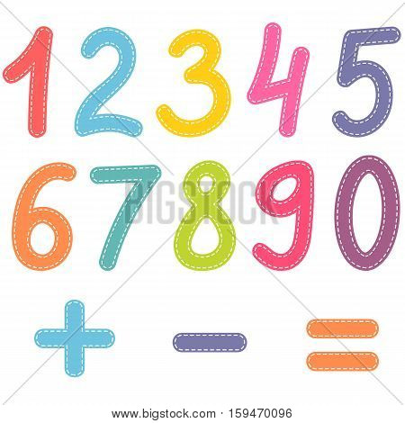 numbers from zero to nine and math symbols