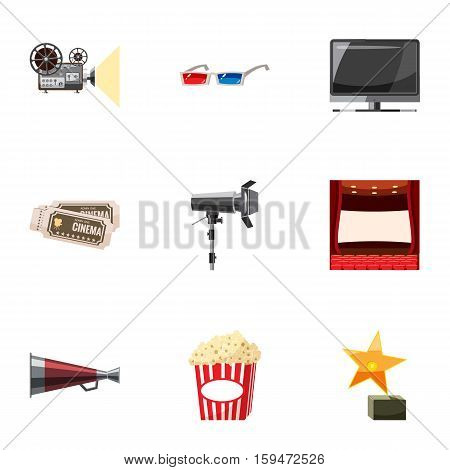 Cinematography icons set. Cartoon illustration of 9 cinematography vector icons for web