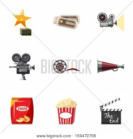 Movie theater icons set. Cartoon illustration of 9 movie theater vector icons for web