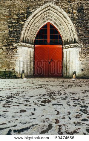 Surviving portal of Saint Catherine's Dominican Monastery one of the oldest buildings in Tallinn Estonia