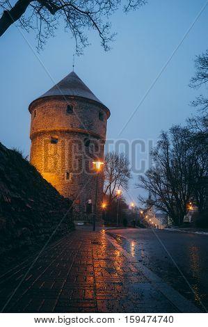 Kiek in de Kok medieval fortification tower in twilight Tallinn Estonia