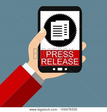 Hand holding Smartphone: Press Release - Flat Design