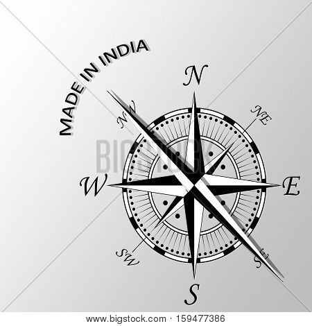 Illustration of Made in India written aside compass