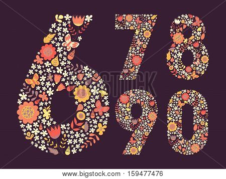 Cute floral vintage numbers set. Doodle flowers leaves butterflies in shapes. Decoration for cards kid's illustrations invitation wedding greeting. 6 7 8 9 0. Vector illustration.