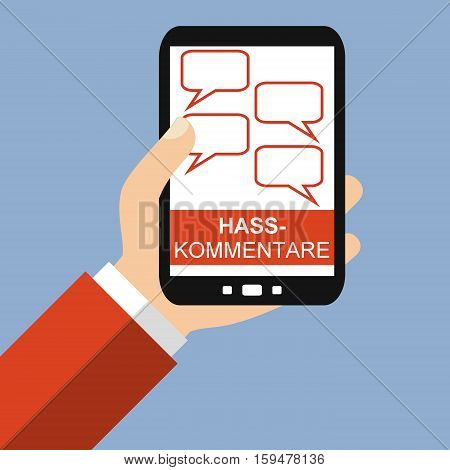 Hand holding Smartphone: Hate Speech in german language - Flat Design