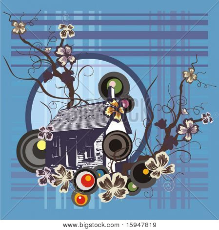 Abstract urban background with floral and grunge details. Vector illustration.
