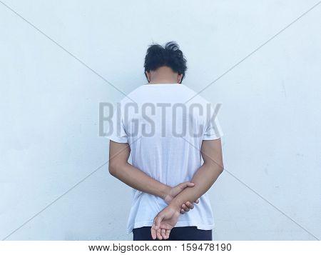 Man gesture, frustrated, upset, frustrated, sad, wants to die, anger, despair.