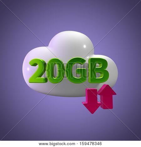 3d rendering cloud download upload  20 gb capacity