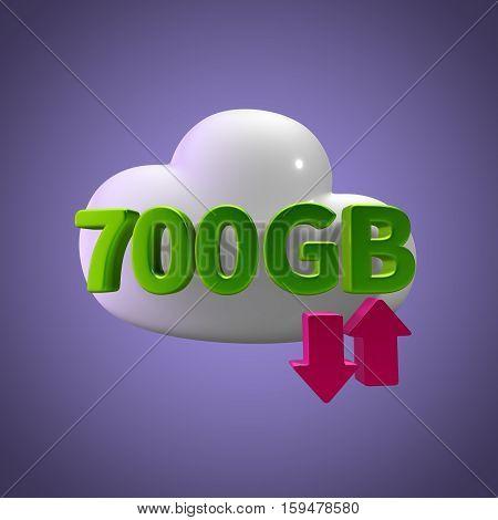 3D Rendering Cloud Data Upload Download illustration 700 GB Capacity