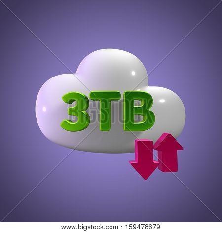 3D Rendering Cloud Data Upload Download illustration 3 TB Capacity