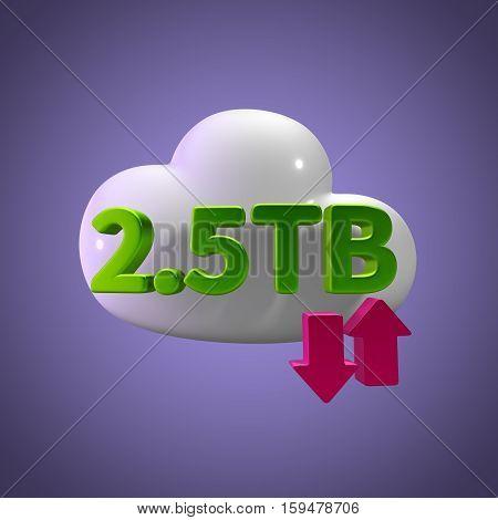3D Rendering Cloud Data Upload Download illustration 2.5 TB Capacity